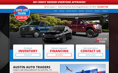 Screen shot of Austin Auto Traders website, by AutoDealerWebsites.com