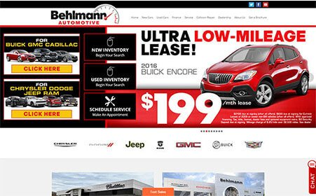 Screen shot of Behlmann Automotive portal website, by AutoDealerWebsites.com