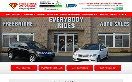 Screen shot of Everybody Rides website, by AutoDealerWebsites.com