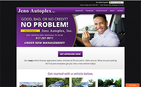 Screen shot of Jeno Autoplex website, by AutoDealerWebsites.com