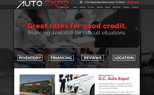 Screen shot of OC Auto Expo website, by AutoDealerWebsites.com