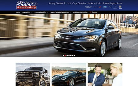Screen shot of Schicker Automotive website, by AutoDealerWebsites.com
