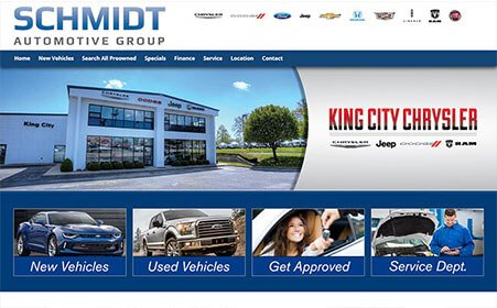 Screen shot of Schmidt Auto Group portal website, by AutoDealerWebsites.com