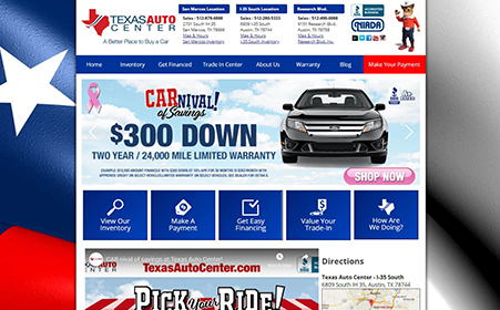 Screen shot of Texas Auto Center website, by AutoDealerWebsites.com
