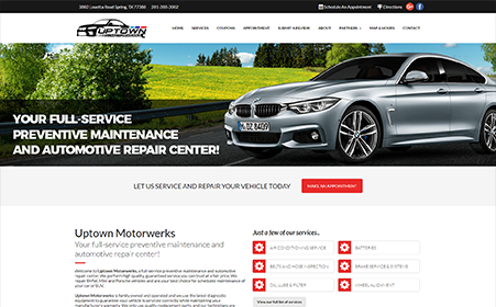 Screen shot of Uptown Motorwerks' website, by AutoDealerWebsites.com