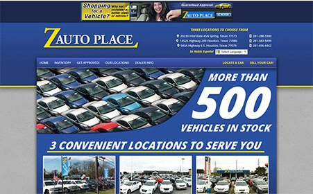 Screen shot of Z Auto Place website, by AutoDealerWebsites.com
