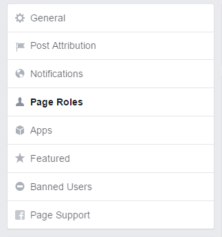 Page roles on the Facebook Page Settings Page