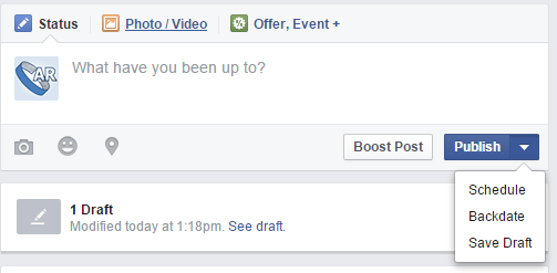 Post Options on Facebook Page Posts