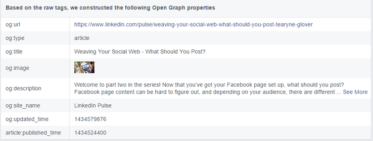 Open Graph data for Facebook Links displayed after fetching new scrape
